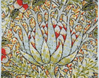 Exotic flower William Morris counted cross stitch kit