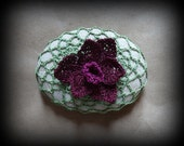 Daffodil, Crocheted Stone, Flower, Handmade, Original, Bloom, Burgundy, Home Decor