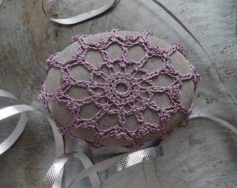 Lace Stone, Crocheted, Soft Purple, Gray, Table Decorations, Original, Handmade, Home Decor, Monicaj
