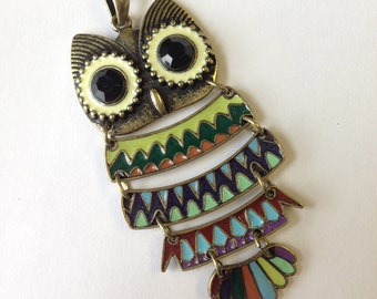 Enameled Owl Pendant, Sectioned Owl Pendant