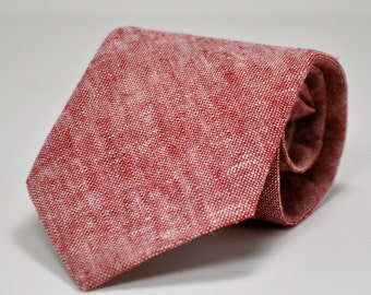 Men's Necktie in Red Chambray Linen
