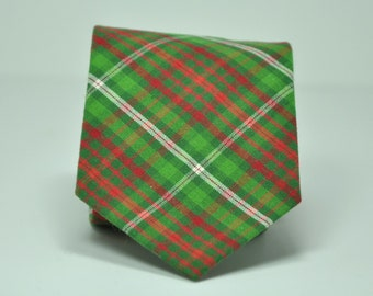 Boy's Christmas Necktie in Green and Red Plaid