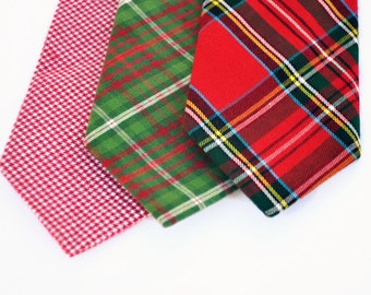 Boy's Necktie, Christmas Necktie, Toddler Tie, Red Plaid, Houndstooth, Tartan Plaid Necktie