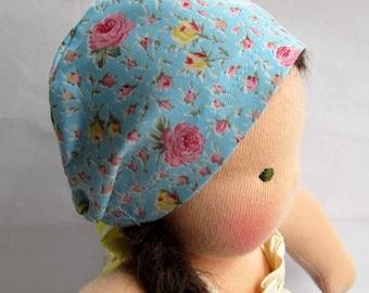 blue roses hat for 10 - 12 inch Waldorf dolls, natural fiber doll hat