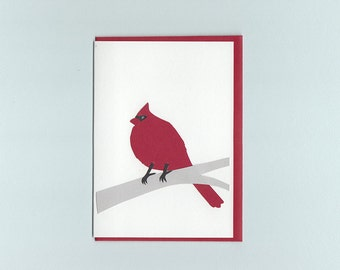 Cardinal in winter - papercut collage card by Dmitry Gimon