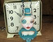 Pop Surrealism Teal Rose Steampunk Girl Necklace