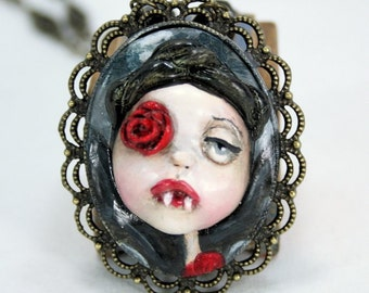Original Pop Surreal Vampire Cameo Necklace
