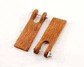 Wood sheet earrings - oak wood, silver