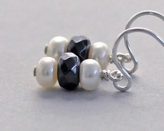 Freshwater Pearl Stack Earrings, Sterling Silver Hematite Earrings, Dangle Hook Earrings, Black and White Earrings