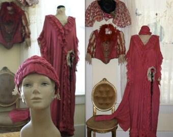 Belle Époque Edwardian Peignoir with original matching headband in a fabulous rasberry color