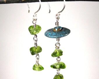 Peridot and Turquoise Asymmetric Dangle Earrings