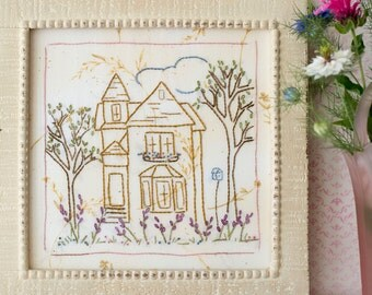 Victorian Cottage Hand Embroidery PDF Pattern Instant Download