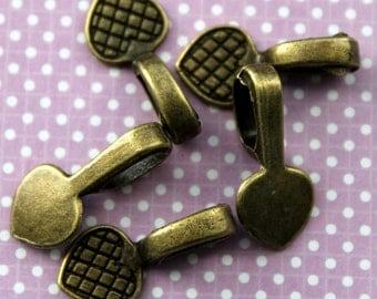 5 Antique Bronze Glue-On Heart Bails