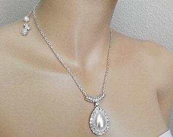 Drop Pearl Necklace,Bridal Necklace Drop Pearl, Pearl Drop Wedding Necklace, Rhinestone Drop Necklace Rhinestone, Bridal Jewelry Back Drop