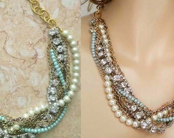 Turquoise Pearl Necklace Green Blue Pearl Rhinestone Chunky Bridesmaid Necklace Gold Copper Rustic Garden Beach Wedding Jewelry Sukran