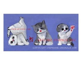 Cute Kitty Illustration. Art. Cats. Kittens. 3 Grey and White Kitties.  Kids Decor. Nursery Decor. Art. Print. Signed - 3 Sides of Kitty