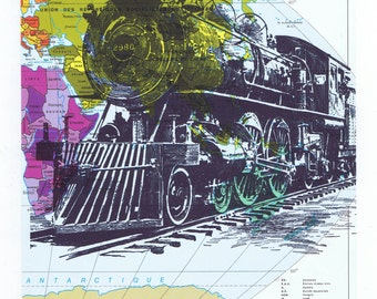 Train.Locomotive.Book Page Print,Birthday gift, art,Paper.home decor,buy 3 get 1 FREE.travel.steam engine.cross country.trip.voyage.discover