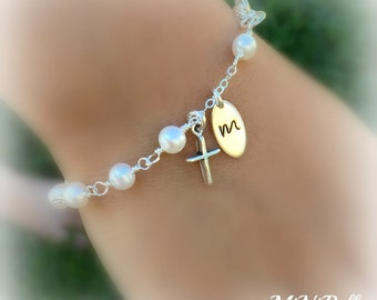Rosary Bracelet. Pearl Rosary Bracelet. Sterling Silver Rosary Pearl Bracelet. Initial Rosary Bracelet. First Communion Baptism