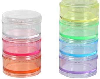 7 Section Multi-Colored Stackable Screw Top Bead Container Set (1)