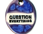 Question Everything Ceramic Necklace in Purple and Blue