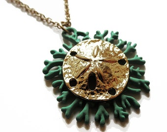 14k gold plated sand dollar and green long pendant necklace. Summer, chic, vacation, resort, shell, preppy, rustic, simple, layer, everyday.
