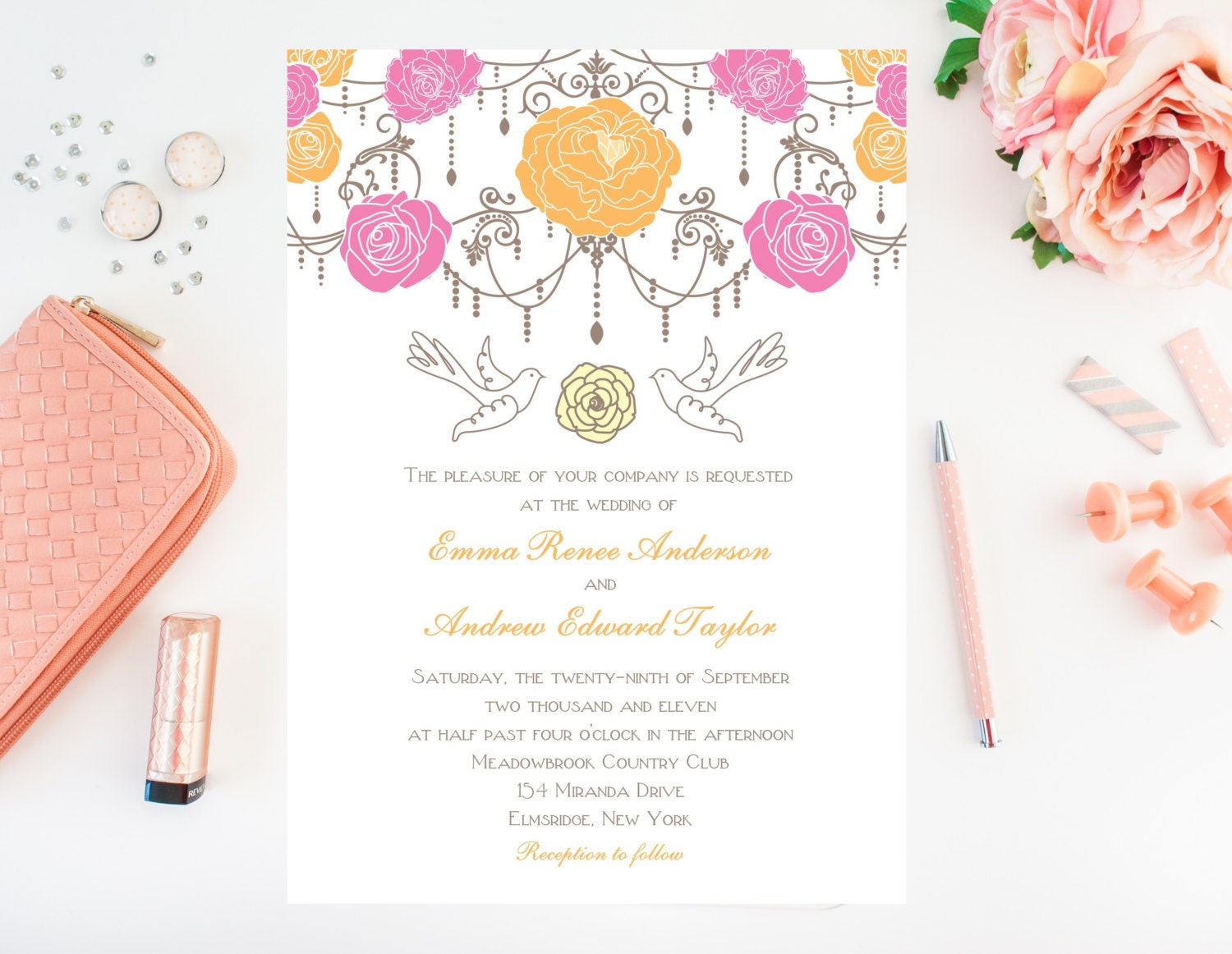 Chandelier Wedding Invitations: Rose Flower Chandelier Wedding Invitations By Whimsicalprints