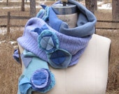 Recycled Cashmere Scarf Appliquéd Up cycled Cashmere Hand Made Scarf BluNo1