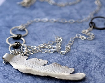 feather necklace - silver feather necklace - bohemian free spirit necklace - long necklace - boho long necklace - sterling feather n2075