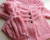 Baby Layette, Pink Baby Layette, Hand Knit Baby Layette, 4 Piece Newborn Baby Layette Set - Ready to Ship
