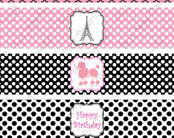 Printable Paris Poodle Birthday Water Bottle Wrappers - Instant Download