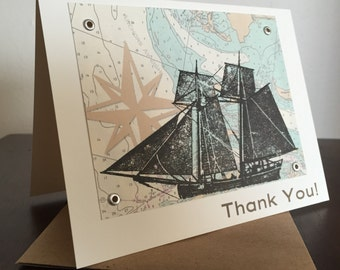 Ship and Nautical Map, 12-Pack Screen-Printed Thank You Cards