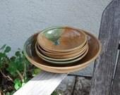 Vintage Handcrafted Ceramic Stoneware Bowl Set