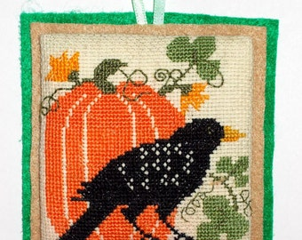 Completed Halloween or Autumn Cross Stitch Ornament