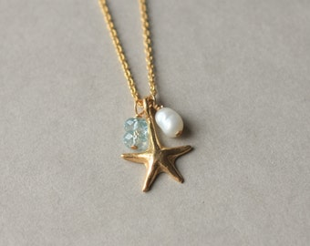 SALE Gold Starfish Charm Necklace, Faceted Aquamarine, Nautical Jewelry, Beach Wedding Jewelry, Gold Chain, Summer Jewelry, Freshwater Pearl