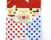 Japanese Tenugui Cotton Gauze Fabric  Flowers  87 x 35 cm Red Blue White Festival