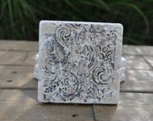 Paisley Natural Stone Coasters. Set of 4. Hostess Gift, Party Favor, Housewarming