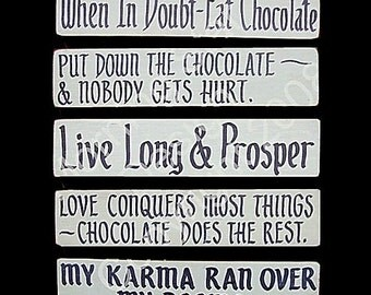 Chocolate, Wooden Signs, Folkisms Set 6