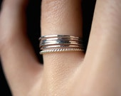 Sterling Silver Twist stacking rings, silver stacking ring, skinny silver stackable ring, silver twist ring set, delicate silver rings