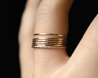 Ultra Thin Gold Filled Twist stacking rings set of 6, 14K gold fill stacking rings, skinny gold stacking ring, twist ring stacking set