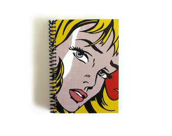 Girl and Hair Ribbon Spiral Notebook, Pocket Journal, Blank Sketchbook, Writing Spiral Bound Small A6 Draft Pop Art, Paper Gifts Under 15