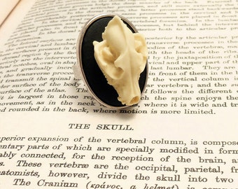 Gothic ring, Wolf skull ring silver unisex adjustable - cameo taxidermy steampunk goth gothic