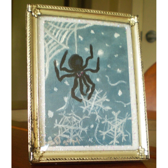 ACEO original painting in frame spider snowflake snow art Winter Yule Christmas holiday home decor