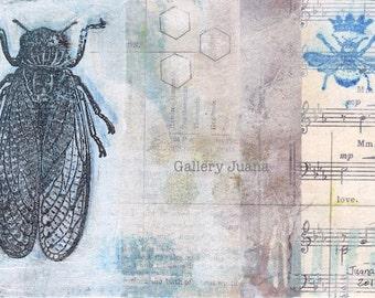 art postcard, cicada, bee, original small art, 4 x 6
