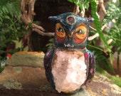 WHO Ancient Owl Animal Totem Figurine Quartz Gemstone