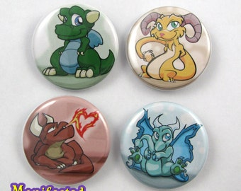Dragon Button Set Chinese Fairy