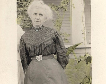 vintage photo Hand Colored Older Lady Green Plants 1910