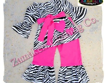 Custom Boutique Clothing Girl Valentines Day ZEBRA Heart PINK Pant Outfit Set Toddler Baby Dress 3 6 9 12 18 24 Month Size 2t 3t 4t 5t 6 7 8