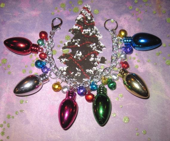 Christmas Light Bulb Charm Bracelet Jingle Bells Bracelet Retro Jewelry Vintage Style Festive Holiday Statement Piece Adult Teen Tween OOAK