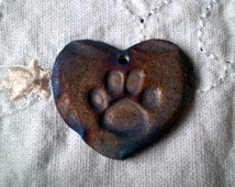 Paw Print Heart Bead, Raku Bead, Porcelain Clay, Handmade Bead Supplies