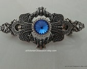 Vintage Victorrian barrette silver Blue Swarvoski Blue crystal hair barrette
